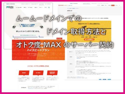 ムームードメインでのドメイン取得方法とオトク度MAXのサーバー契約